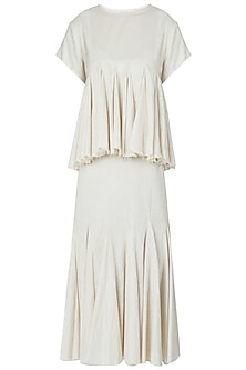 Beige Layered Frill Knee Length Dress