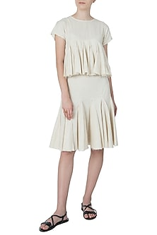 Beige Layered Frill Knee Length Dress by Ankita