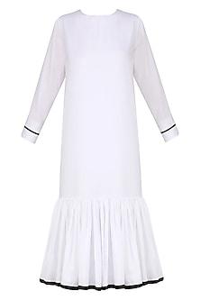 White Monochrome Frill Dress by Ankita