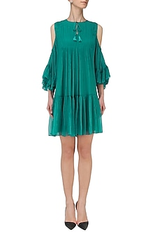 Teal Cold Shoulder Pleated Dress by Ankita