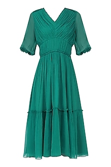 Teal Pleated Tier Dress