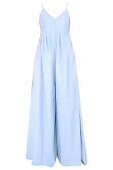 Blue Pleated Panelled Jumpsuit
