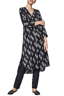 Black Block Printed Asymmetrical Kurta by Anita Dongre