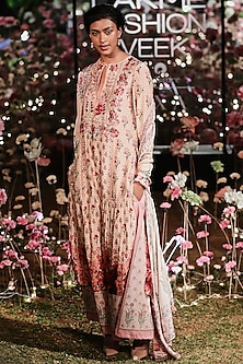 Pink Printed Sequins Kurta With Trouser Pants