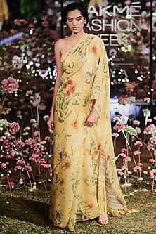 Mustard Floral Saree Set by Anita Dongre