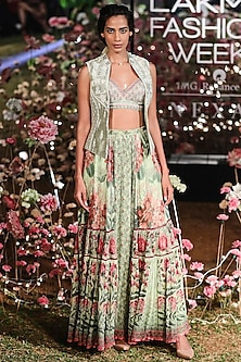 Pista Green Printed Lehenga Skirt With Blouse & Embroidered Jacket