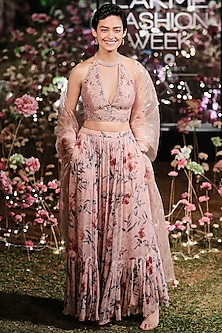 Old Rose Pink Embroidered Printed Lehenga Set