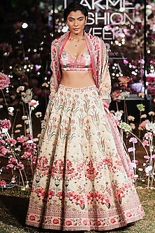Pink Floral Printed Sequins Lehenga Set by Anita Dongre