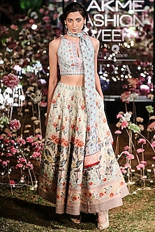Mist Blue Floral Printed Lehenga Set by Anita Dongre