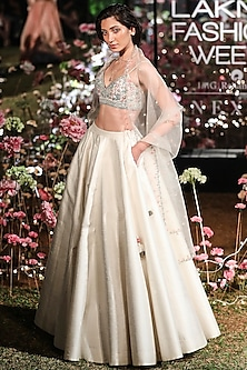 Cream Printed Embroidered Lehenga Set by Anita Dongre
