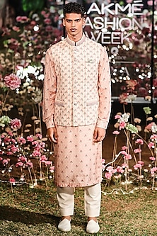 Pink Printed Bundi Jacket With Kurta & Pants by Anita Dongre Men