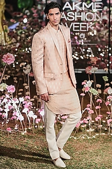 Blush Pink Printed Bandhgala Jacket With Kurta & Trouser Pants by Anita Dongre Men