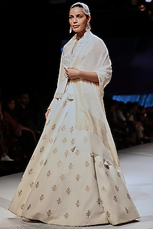 White Embroidered Floral Lehenga Set by Anita Dongre