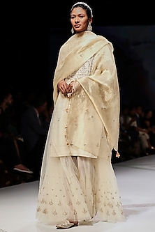 White Embroidered Floral Sharara Set by Anita Dongre