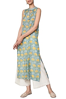 Sea Blue Hand Block Printed Sleeveless Kurta by Anita Dongre