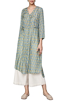 Sea Blue Hand Block Printed Tunic by Anita Dongre