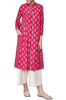 Pink Hand Block Printed Floral Tunic by Anita Dongre