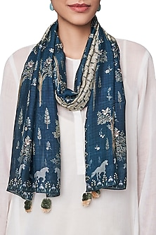 Navy Blue Digital Printed Scarf