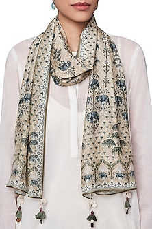 Beige and White Digital Printed Scarf