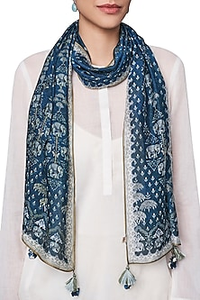 Blue Digital Printed Cotton Scarf