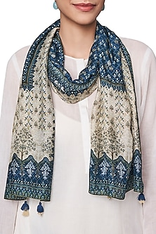 Blue and White Digital Printed Scarf