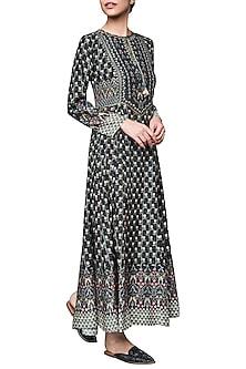 Black Block Printed Maxi Dress by Anita Dongre
