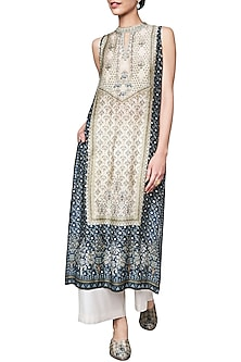 Beige and Blue Block Printed Sleeveless Tunic by Anita Dongre