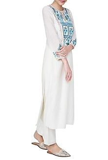 White Embroidered Kurta with Pants
