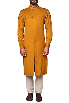 Mustard Pintucks Kurta by Anita Dongre