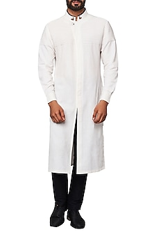 Off White Overlap Concealed Placket Kurta
