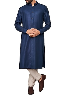 Navy Blue Concealed Placket Kurta by Anita Dongre