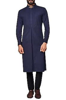 Navy Blue Box Pleated Kurta