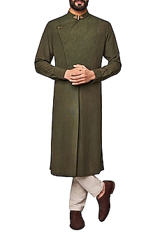 Olive Green Pleated Kurta