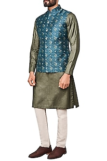 Blue Printed Nehru Jacket