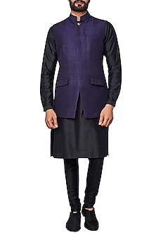 Navy Blue Nehru Jacket by Anita Dongre