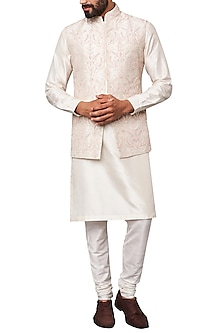 Off White Embroidered Nehru Jacket