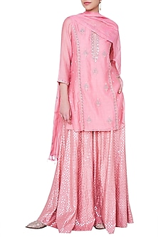Blush Embroidered Sharara Set