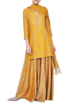 Mustard Embroidered Sharara Set
