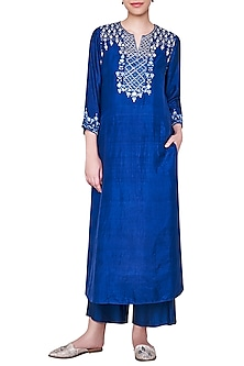 Navy Blue Embroidered Kurta with Pants by Anita Dongre