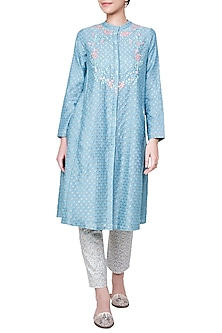 Sea Blue Floral Embroidered Kurta with Churidar