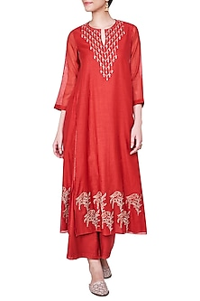 Red Embroidered Kurta with Palazzo Pants by Anita Dongre