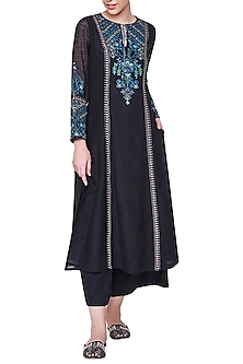 Black Embroidered Kurta with Palazzo Pants by Anita Dongre