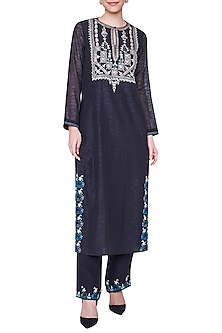 Black Embroidered Full Sleeves Kurta with Palazzo Pants