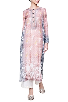 Peach Printed Kurta with Churidar