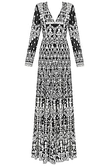 Black and White Mirror Tree Motifs Gown by Anita Dongre