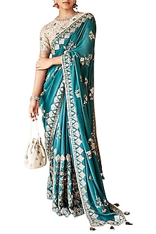 Dark Green Embroidered Saree with Unstitched Blouse by Anita Dongre