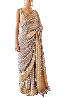 Grey Embroidered Saree with Unstitched Blouse