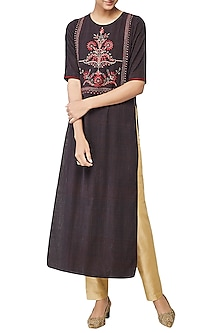 Brown Saachi Embroidered Kurta by Anita Dongre