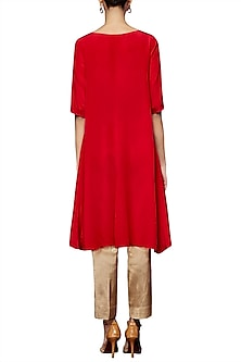 Red Pallava Embroidered Kurta With Pants