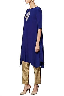 Blue Pallava Embroidered Kurta With Pants by Anita Dongre
